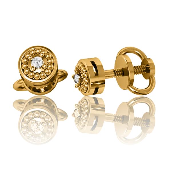 Золоті сережки з діамантами «Sia»