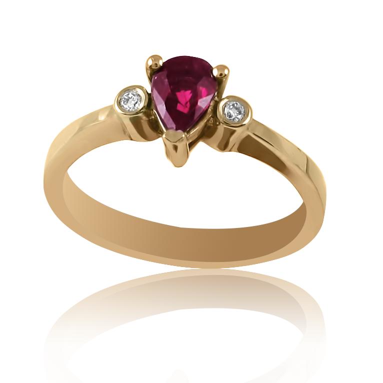 Золотое кольцо c рубином «Mistery»