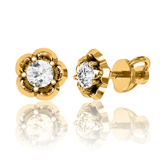 Золоті сережки з цирконієм «Queen of the Night»