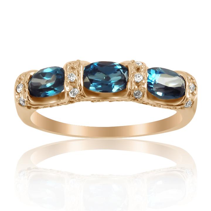 Кольцо дорожка с овальными топазами «Золотой век»