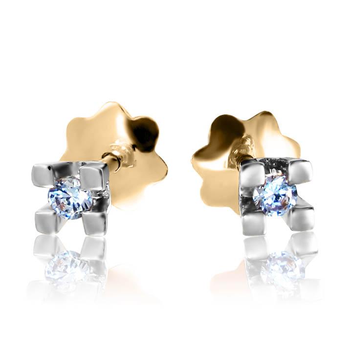 Золотые серьги-пусеты с брилиантами