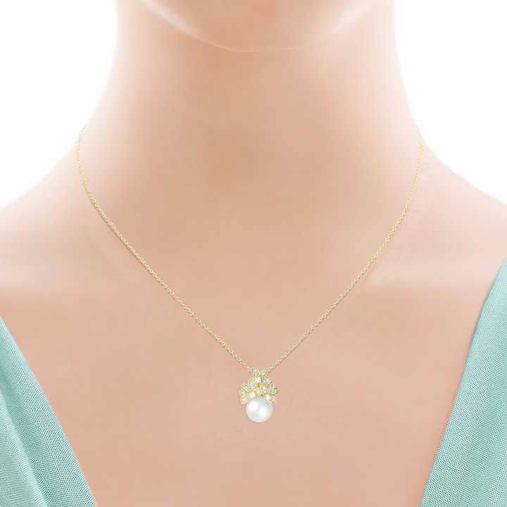 Красиве золоте кольє з морською перлиною «Марина»