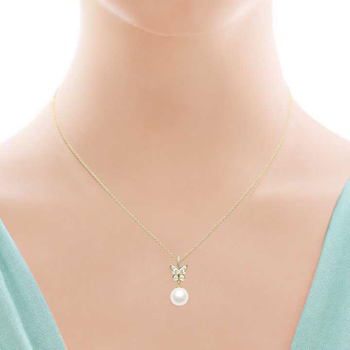 Діамантове кольє «Метелик» з морською перлиною