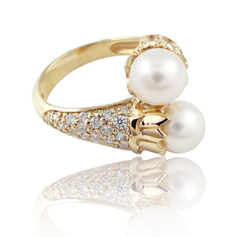 Золоте кільце з перлинами «Морська піна - II»