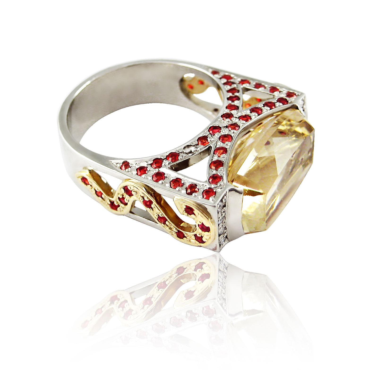 Золоте кільце з цитрином «Агнеса»
