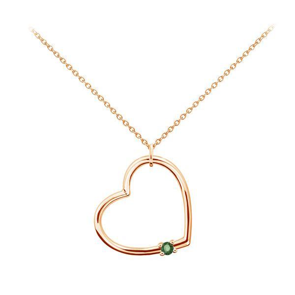 Золотой кулон с изумрудом «Сердце»