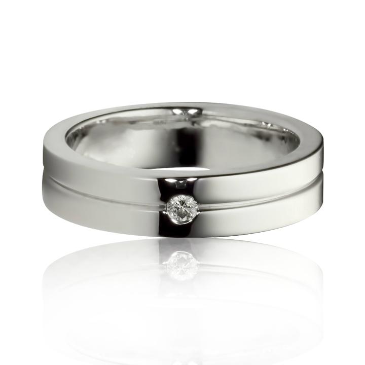 Обручальное кольцо американка с бриллиантом «Happy time»