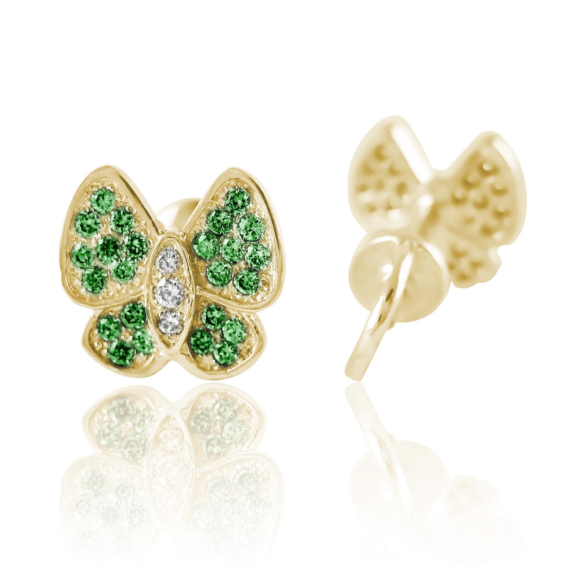 Золоті пусети зі смарагдами «Метелики»