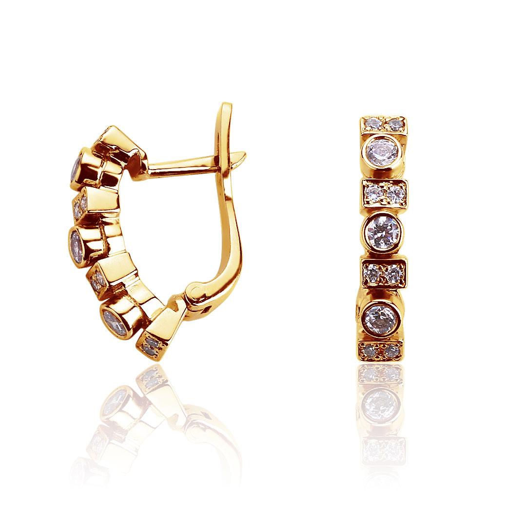 Золотые серьги дорожки с кристаллами Swarovski «Link»