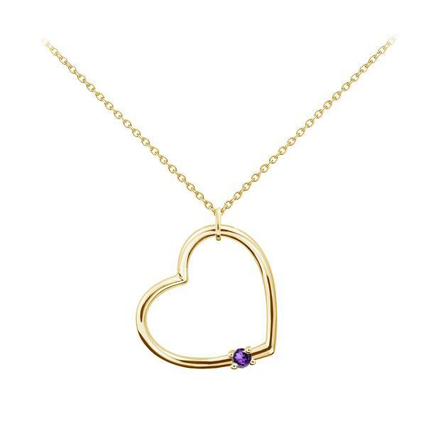 Золотий кулон з аметистом «Серце»