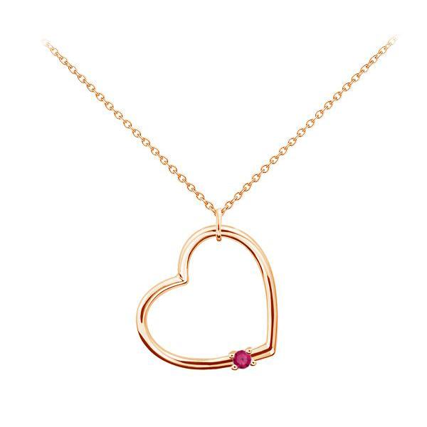 Золотой кулон с рубином «Сердце»