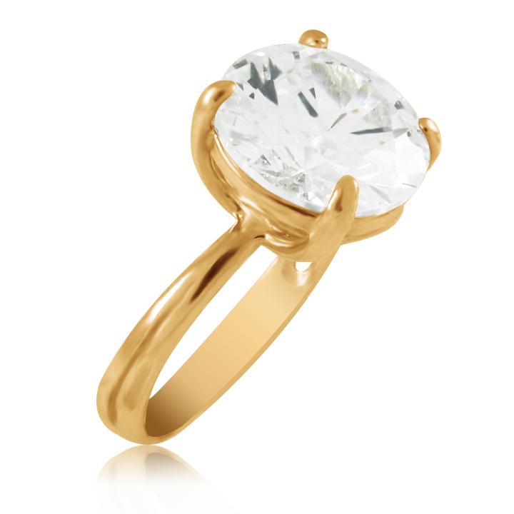 Золоте кольцо з великим гірським кришталем «Едісса»