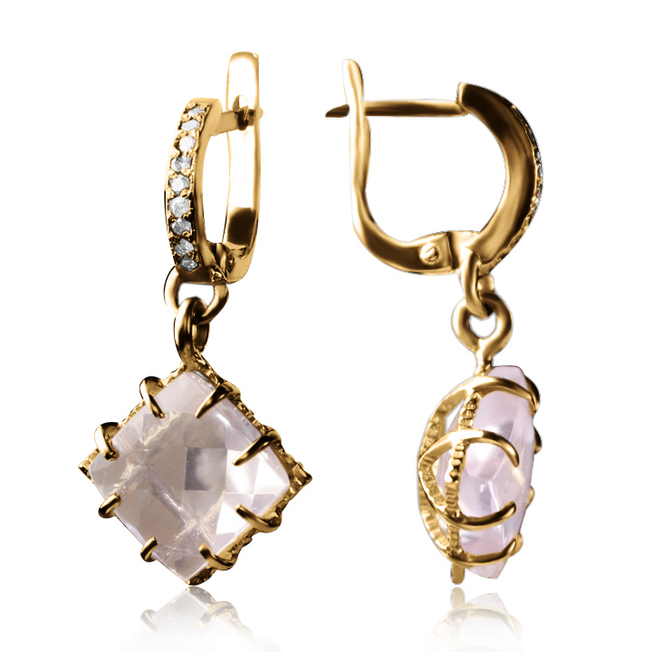 Золотые серьги с розовым кварцем «Ida»
