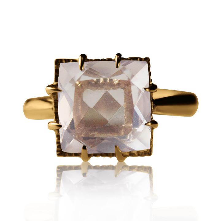 Золотое кольцо с розовым кварцем «Ida»