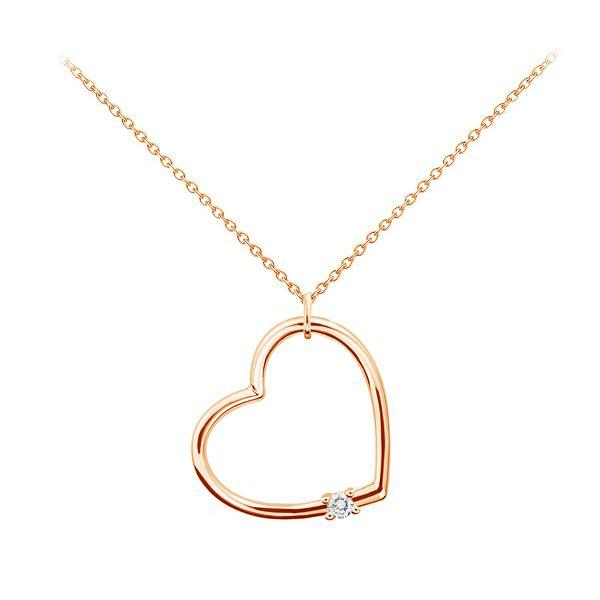 Золотий кулон з цирконієм «Два серця»