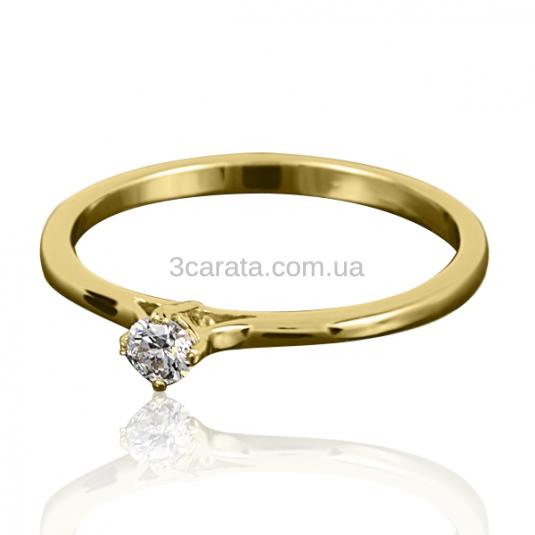 Золота каблучка з діамантом «Поема про кохання