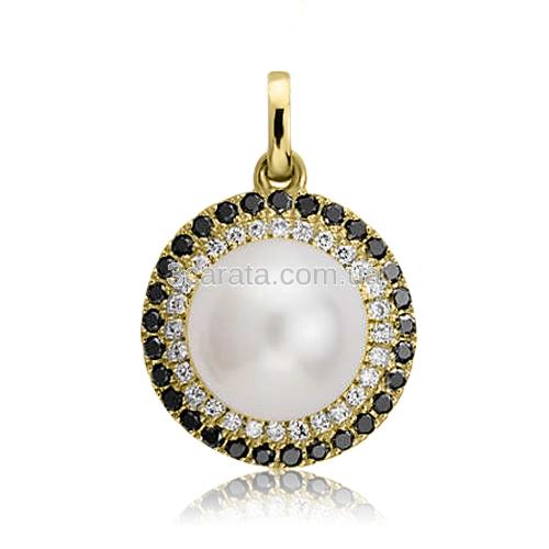 Золотий кулон з перлами «Night fairy»