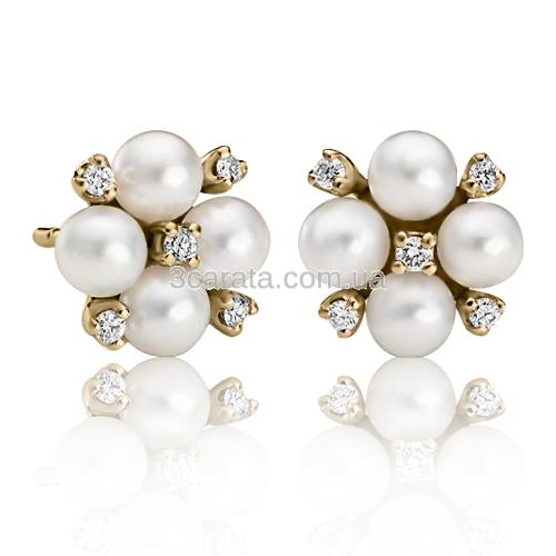 Золоті сережки з перлами «Costantino»