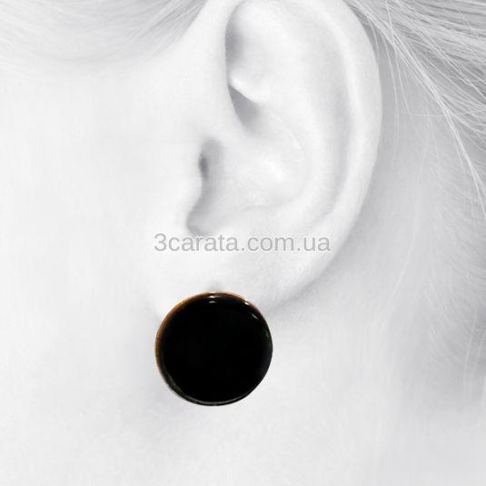 Золотые серьги с черным агатом «Черный агат в золоте»