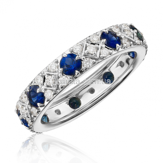 Кольцо с бриллиантами и сапфирами «Ницца»