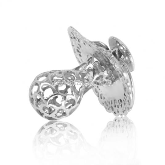 Брязкальце зі срібла «Соска-пустушка» для дівчинки