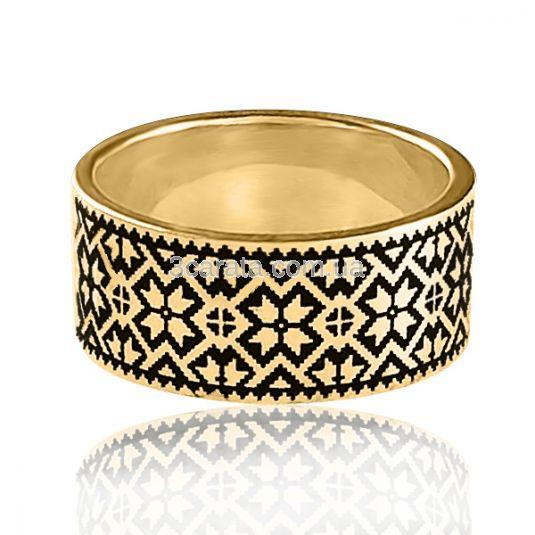 Золота обручка з емаллю «Вишиванка»