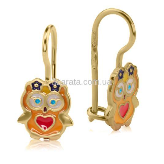 Сережки золоті з кольоровою емаллю для дівчинки «Сови»