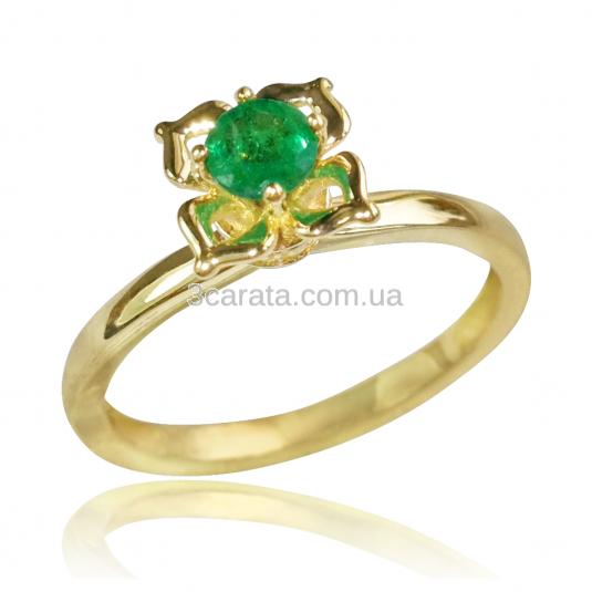 Золоте кільце з смарагдом «Прекрасна квітка» a396daa732a51