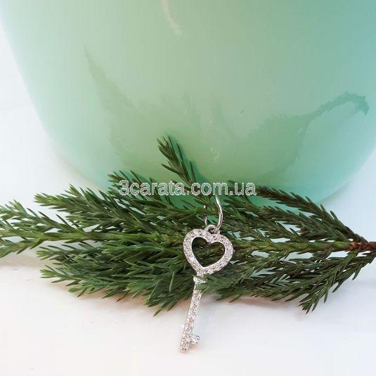 Золотий кулон ключ з цирконієм «Ключ серця»