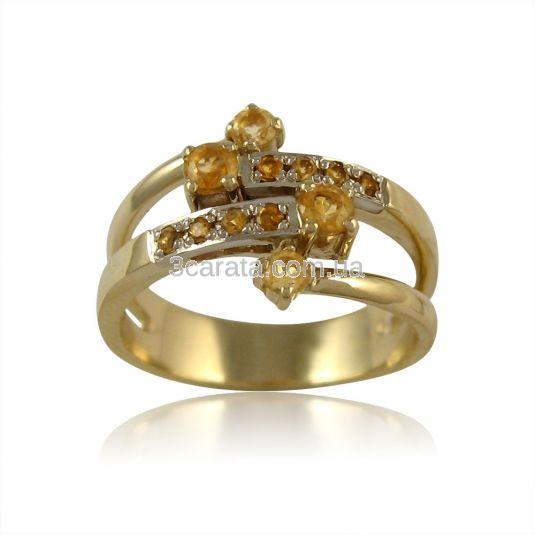 Золоте кільце з цитрином «Анжеліка»
