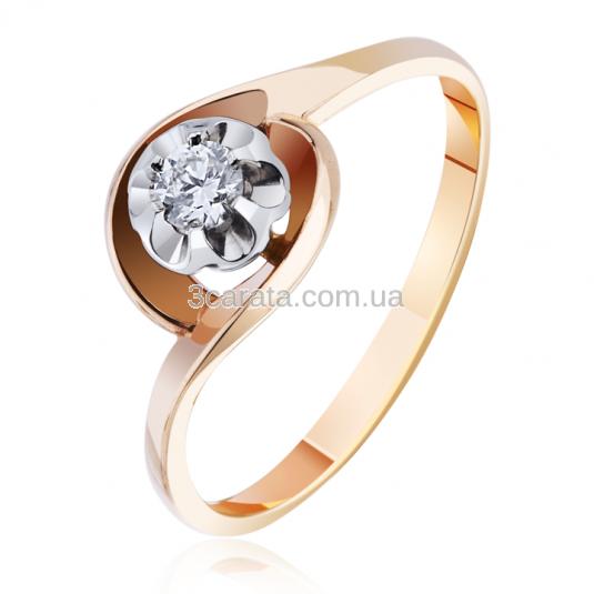 Золота каблучка з діамантом «Мій Париж» c61ac11fa9c7b