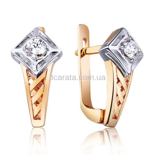 Золоті сережки з діамантами «Ключ від серця» 2d4603e6be145