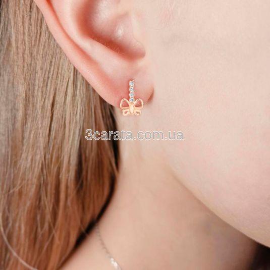 Золоті сережки метелики для дівчинки «Le papillon»