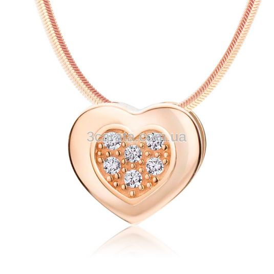 Золотий кулон сердечко з діамантами «Beloved»
