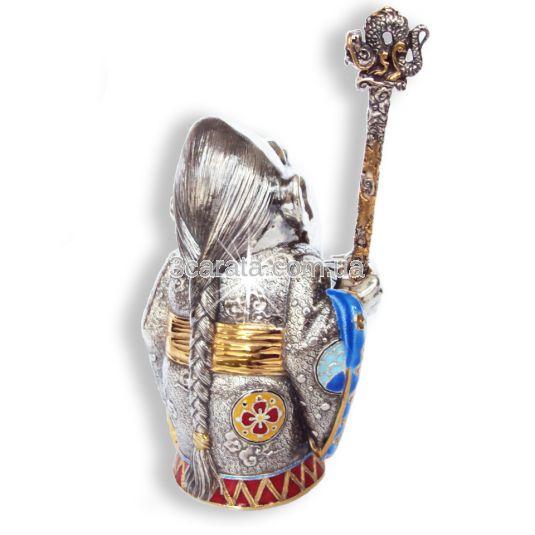 Срібна попільничка «Мандарин» з емаллю і позолотою