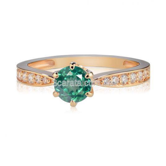 Золота класична каблучка з зеленим топазом «Історія кохання»