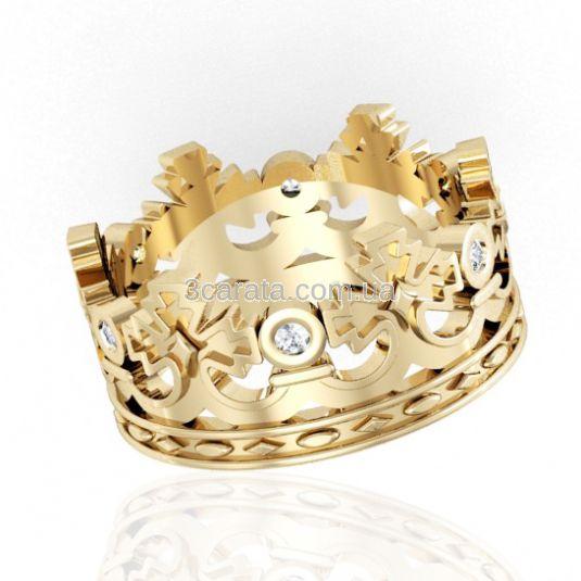 Золота обручка корона з діамантами «Королева натхнення»