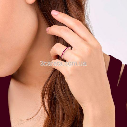Золота каблучка доріжка з рубінами «Beautify»