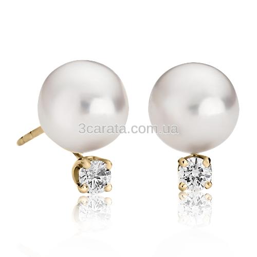 Золоті сережки з перлами «Baldovino»