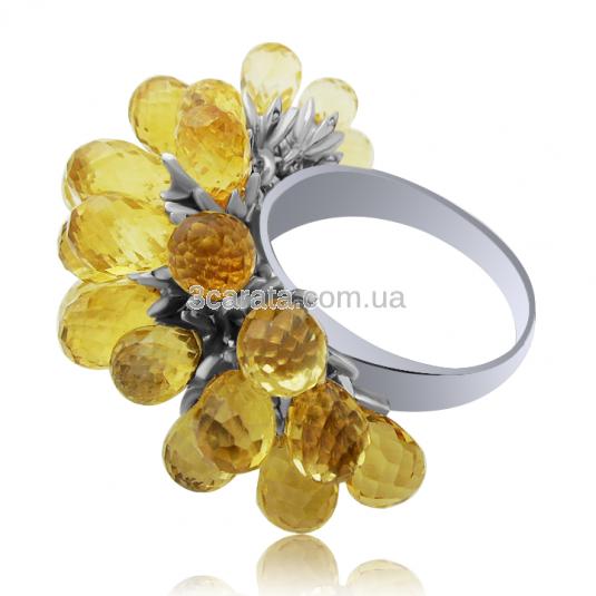 Золоте кільце з цитринами «Шардоне»