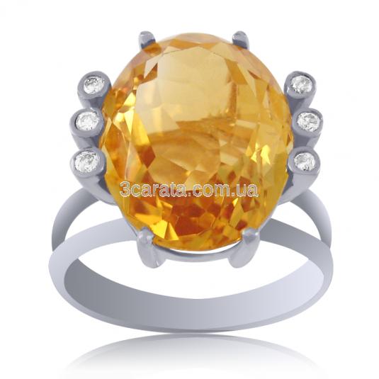 Золотое кольцо с цитрином «Скарабей»