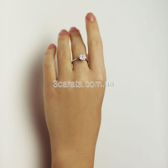Золота каблучка для заручин з великим фіанітом «My Tiffany»
