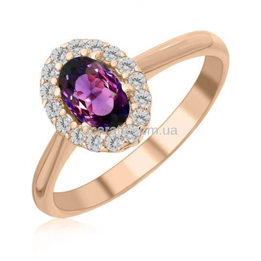 Золота каблучка з олександритом «Purple delight»