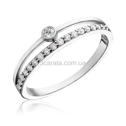 Подвійна каблучка з доріжкою діамантів «Minimal»