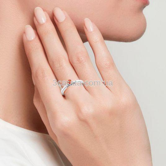 Золота каблучка для заручин зі спессартином «Lily»