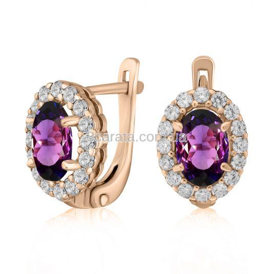 Жіночі сережки з овальними олександритами «Purple delight»