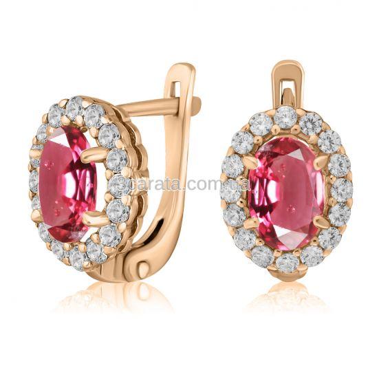 Золоті сережки з рожевою шпінеллю «Pink delight»