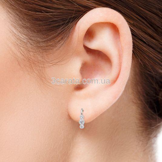 Сережки з трьома діамантами «Tina»