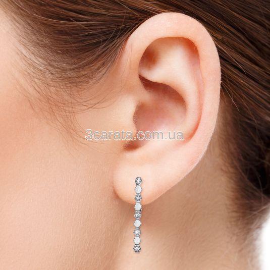 Подовжені сережки з доріжкою діамантів «Combi»