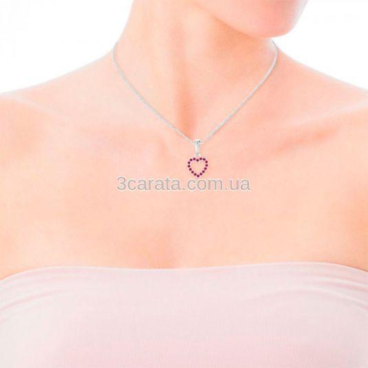Золотий кулон у формі сердечка з рубінами «Loving»
